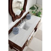 Castilian 60'' Single Bathroom Vanity, ADA, Aged Cognac with 3 cm Arctic Fall Solid Surface Top and Brushed Nickel Hardware - 60''W x 23-1/2''D x 34''H