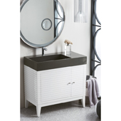 Linear 36'' Single Bathroom Vanity Cabinet in Glossy White Finish with Solid Surface Top and Sink in Glossy Dark Gray