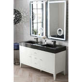 Linear 59'' Double Bathroom Vanity Cabinet in Glossy White Finish with Solid Surface Top and Sinks in Glossy Dark Gray