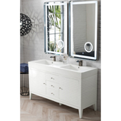 Linear 59'' Double Bathroom Vanity Cabinet in Glossy White Finish with Solid Surface Top and Sinks in Glossy White