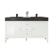 Linear 59'' Double Bathroom Vanity Cabinet Only in Glossy White Finish