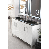 Lineage 59'' Double Bathroom Vanity Cabinet in Glossy White Finish with Solid Surface Top and Sinks in Glossy Dark Gray