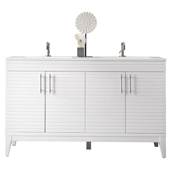 Lineage 59'' Double Bathroom Vanity Cabinet Only in Glossy White Finish