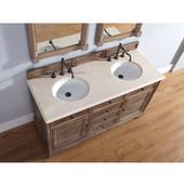 Savannah 60'' Driftwood Double Vanity with 2cm Galala Beige Stone Top