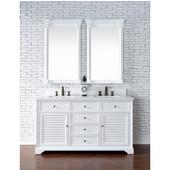 Savannah 60'' Double Vanity Cabinet, Cottage White, No Countertop