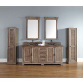 Providence 72'' Double Vanity Cabinet, Driftwood, No Countertop