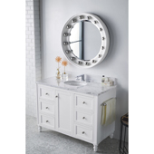 Copper Cove Encore 48'' Single Bathroom Vanity Set in Bright White Finish with 1-1/5'' Carrara White Top and Oval Sink