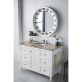 Copper Cove Encore 48'' Single Bathroom Vanity Set in Bright White Finish with 1-1/5'' Santa Cecilia Top and Oval Sink