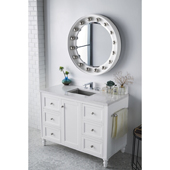 Copper Cove Encore 48'' Single Bathroom Vanity Set in Bright White Finish with 1-1/5'' Eternal Jasmine Pearl Quartz Top and Sink