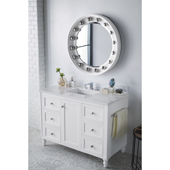 Copper Cove Encore 48'' Single Bathroom Vanity Set in Bright White Finish with 1-1/5'' Classic White Quartz Top and Sink