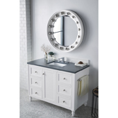 Copper Cove Encore 48'' Single Bathroom Vanity Set in Bright White Finish with 1-1/5'' Charcoal Soapstone Quartz Top and Sink
