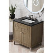 Chicago 30'' Single Bathroom Vanity Set in Whitewashed Walnut Finish with 1-1/5'' Iconic Black Quartz Top and Sink