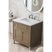 Chicago 30'' Single Bathroom Vanity Set in Whitewashed Walnut Finish with 1-1/5'' Eternal Jasmine Pearl Quartz Top and Sink