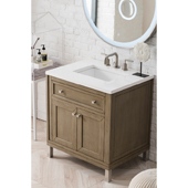 Chicago 30'' Single Bathroom Vanity Set in Whitewashed Walnut Finish with 1-1/5'' Classic White Quartz Top and Sink