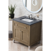 Chicago 30'' Single Bathroom Vanity Set in Whitewashed Walnut Finish with 1-1/5'' Charcoal Soapstone Quartz Top and Sink