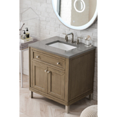 Chicago 30'' Single Bathroom Vanity Set in Whitewashed Walnut Finish with 1-1/5'' Grey Expo Quartz Top and Sink