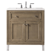 Chicago 30'' Single Bathroom Vanity Set in Whitewashed Walnut Finish with 1-1/5'' Galala Beige Top and Oval Sink