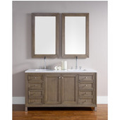 Chicago 60'' Double Vanity, White Washed Walnut, Wall Mounted or Free Standing, No Countertop