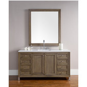 Chicago 60'' Single Vanity, White Washed Walnut, Wall Mounted or Free Standing, No Countertop