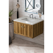 Silverlake 30'' Wall Mounted Single Bathroom Vanity Set in Natural Applewood Finish with 1-1/5'' Eternal Jasmine Pearl Quartz Top and Sink