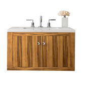 Silverlake 30'' Wall Mounted Single Bathroom Vanity Set in Natural Applewood Finish with 1-1/5'' Santa Cecilia Top and Oval Sink