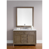 Chicago 48'' Single Vanity, White Washed Walnut, Wall Mounted or Free Standing, No Countertop