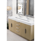 Bainbridge 72'' Double Bathroom Vanity in Tribeca Oak Finish with Matte White Solid Surface Top and Sinks