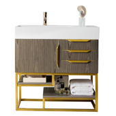 Columbia 36'' Single Bathroom Vanity in Ash Gray and Radiant Gold Finishes with Glossy Dark Gray Solid Surface Top and Sink