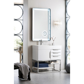 Columbia 36'' Single Bathroom Vanity in Glossy White Finish with Glossy White Solid Surface Top and Sink