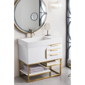 Columbia 36'' Single Bathroom Vanity in Glossy White and Radiant Gold Finishes with Glossy White Solid Surface Top and Sink