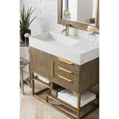 Columbia 36'' Single Bathroom Vanity in Latte Oak and Radiant Gold Finishes with Glossy White Solid Surface Top and Sink