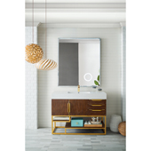 Columbia 48'' Single Bathroom Vanity in Coffee Oak and Radiant Gold Finishes with Matte White Solid Surface Top and Sink