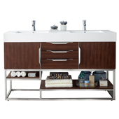 Columbia 59'' Double Bathroom Vanity Cabinet Only in Coffee Oak Finish