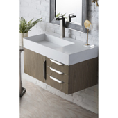 Mercer Island 36'' Single Bathroom Vanity in Ash Gray Finish with Glossy White Solid Surface Top and Sink