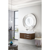 Mercer Island 36'' Single Bathroom Vanity in Coffee Oak Finish with Glossy White Solid Surface Top and Sink