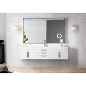Mercer Island 72'' Single Bathroom Vanity in Glossy White Finish with Glossy White Solid Surface Top and Sink