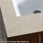 26'' to 72'' Wide Single or Double Sink Top, 3 cm Summer Sand Quartz Top