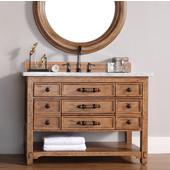 Malibu 48''W Honey Alder Single Vanity with 3cm (1-1/5'') Thick Carrara Marble Top