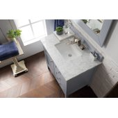 Palisades 36'' Single Bathroom Vanity, Silver Gray with 3 cm Carrara Marble Top and Satin Nickel Hardware - 36''W x 23-1/2''D x 35-1/4''H