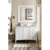 Palisades 48'' Single Bathroom Vanity, Bright White and Satin Nickel Hardware - 47''W x 23''D x 34''H