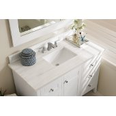Palisades 48'' Single Bathroom Vanity, Bright White with 3 cm Arctic Fall Solid Surface Top and Satin Nickel Hardware - 48''W x 23-1/2''D x 35-1/4''H