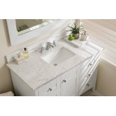Palisades 48'' Single Bathroom Vanity, Bright White with 3 cm Carrara Marble Top and Satin Nickel Hardware - 48''W x 23-1/2''D x 35-1/4''H