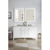 Palisades 60'' Double Bathroom Vanity, Bright White and Satin Nickel Hardware - 59''W x 23''D x 34''H