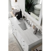 Palisades 60'' Single Bathroom Vanity, Bright White with 3 cm Arctic Fall Solid Surface Top and Satin Nickel Hardware - 60''W x 23-1/2''D x 35-1/4''H