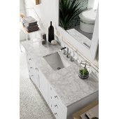 Palisades 60'' Single Bathroom Vanity, Bright White with 3 cm Carrara Marble Top and Satin Nickel Hardware - 60''W x 23-1/2''D x 35-1/4''H