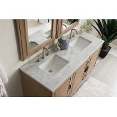 Portland 60'' Double Bathroom Vanity, White Washed Walnut with 3 cm Carrara Marble Top and Wood Hardware - 60''W x 23-1/2''D x 34-1/4''H