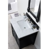 Brittany 30'' Single Bathroom Vanity, Black Onyx with 3 cm Carrara Marble Top and Satin Nickel Hardware - 30''W x 23-1/2''D x 34''H