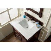 Brittany 30'' Single Bathroom Vanity, Burnished Mahogany with 3 cm Arctic Fall Solid Surface Top and Satin Nickel Hardware - 30''W x 23-1/2''D x 34''H