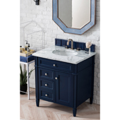 Brittany 30'' Single Bathroom Vanity Set in Victory Blue Finish with 1-1/5'' Carrara White Top and Oval Sink