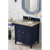 Brittany 30'' Single Bathroom Vanity Set in Victory Blue Finish with 1-1/5'' Santa Cecilia Top and Oval Sink